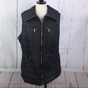 Avenue Black Quilted Zip Up Puffer Vest